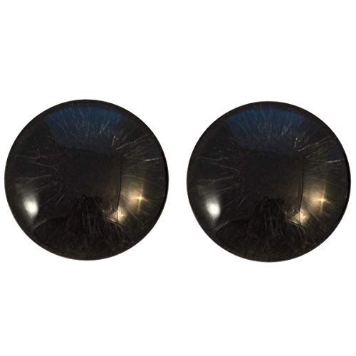 All Black Realsitic Glass Eyes Human Zombie Horror Art Dolls Taxidermy Sculptures or Jewelry Making Cabochons Crafts Matching Set of 2 (25mm)