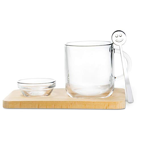 The Mammoth Design Turkish, Black, Green, English Herbal Tea Coffee Wooden Serving Tray with Glass Cup, Glass Bowl and Stirring Spoon | Decorative, Stylish, Convenient Home Office Accessory