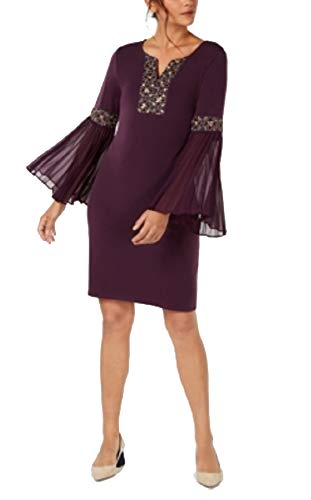 (JM Collection Beaded Bell-Sleeve Dress (Pickled Beet, M))
