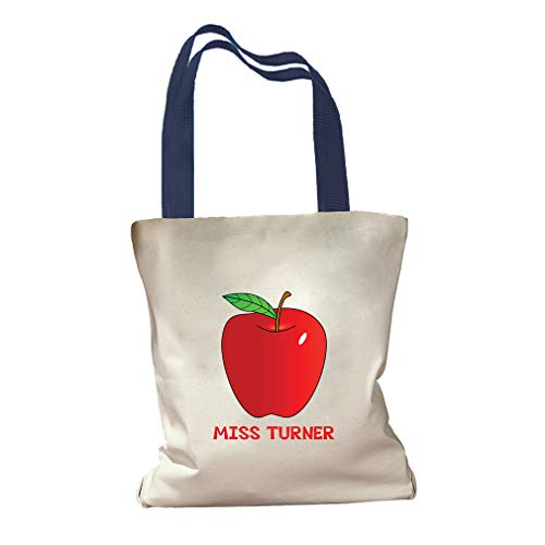Personalized Custom Text An Apple For Teacher Cotton Canvas Colored Handles Tote Bag - Royal Blue