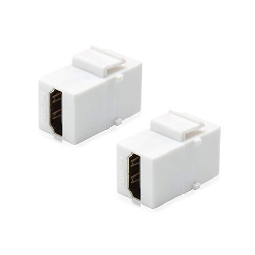 AllSmartLife 2-Pack HDMI Keystone Jack Gold-Plated Insert Inline Coupler - White