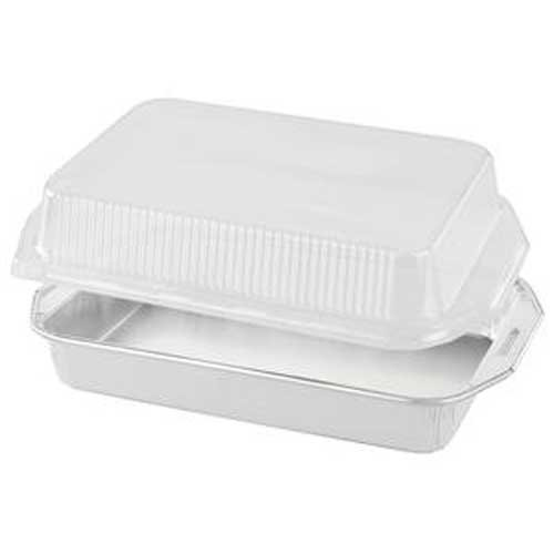 Handi Foil of America Gourmet to Go White Rectangular Rack Roaster with Dome Lids -- 50 per case.