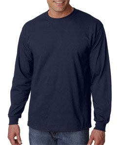 Gildan Mens 6.1 oz. Ultra Cotton Long-Sleeve T-Shirt G240 -NAVY (6.1 Ounce T-shirt)