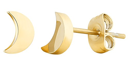 ELBLUVF Stainless Steel Women Crescent Moon and Star Lucky Stud Earrings Choose Colors (Gold moon + ()
