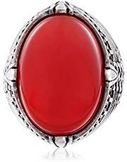 خاتم فضة استرليني عيار 925 مزين بحجر عقيق بيضاوي للرجال - احمر داكن، 30