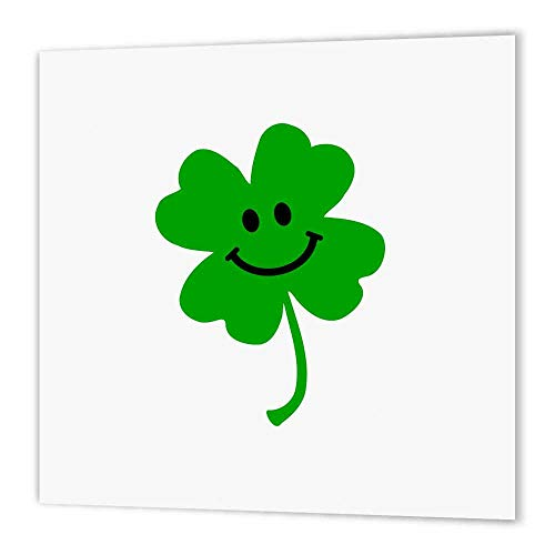 3dRose ht_123145_2 Happy Shamrock Cute Smiley Face Lucky Four Leaf Clover Irish Good Luck Charm Green Ireland Iron on Heat Transfer, 6 by 6