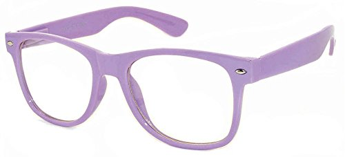 Clear Lens Classic Vintage Sunglasses Retro 80's Purple Frame for - Purple Glasses Framed