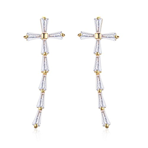 Chicinside Cross Ear Cuff Pins CZ Crystal Ear Climbers (Gold) Crystal Cuff Cross