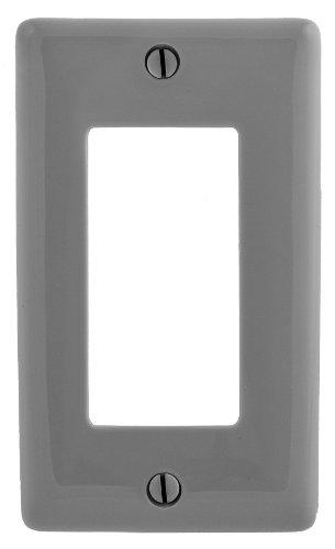 Bryant Electric NPJ26GY Wallplate, Nylon, Mid-Sized, 1-Gang, 1 Decorator/GFCI, Gray ()