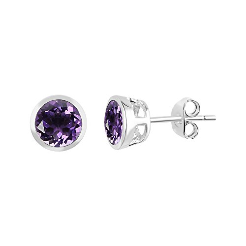 Sterling Silver 6mm Round Amethyst Bezel Set Stud Earrings