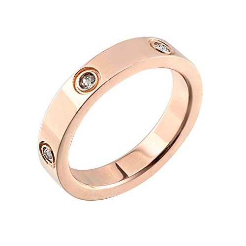 Designer Inspired Titanium Steel Love Ring with Swarovski Crystals (Rose Gold, 7)
