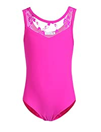 Arshiner Girls' Tank Leotard with Lace Ballet Dance