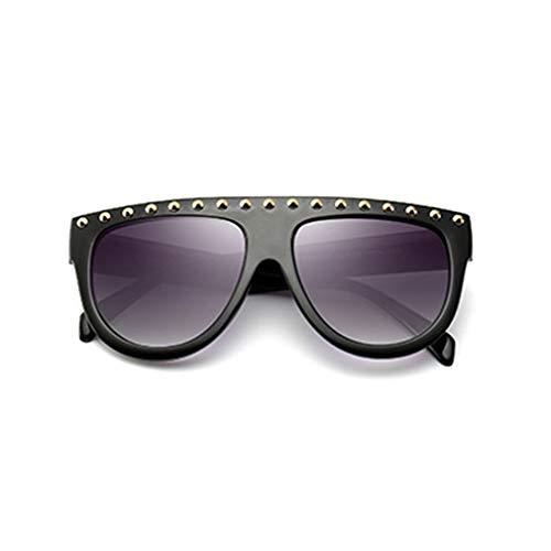 Gris Soleil Pour De Vintage Black Monture Rétro Shades Uv400 Femmes Plate Lunettes Noir Yuandongxing Rivet À Femme EYFn1SZnq