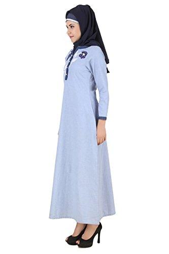 MyBatua Mahek Ice Blue chambray coton Abaya musulmane Robe AY-471