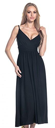 276 Bretelles Soyeux Glamour Encolure vase Empire Jupe Maxi Robe en V Femme Noir q4XSwPB