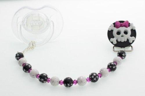 Cristal sueño elegante blanco y negro con cuentas lazo calavera hecho a mano regalo Unisex infantil Chupete clip (cskb) Crystal Dream