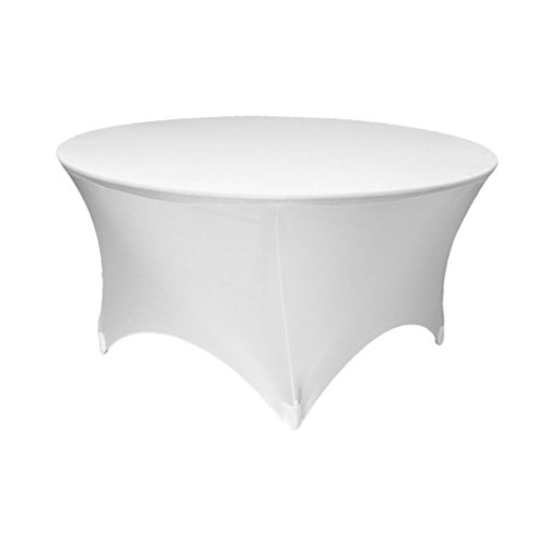 GFCC Stretch Spandex Table Cover White for 72 inch Round Table Fitted Tablecloth Linen Tablecloth Wedding Party Birthday Decor