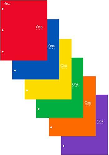 New Generation - One - 2 Pocket Folder / Portfolio Heavy Duty 3 Hole Punch - Assorted 6 Fashion Colors UV Glossy Laminated - 6 Folders per Pack