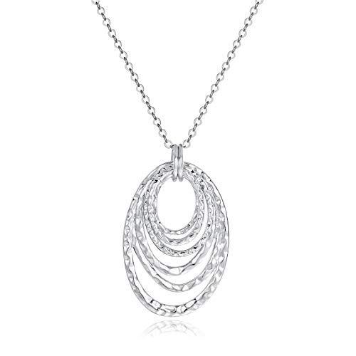 Multi Circles Oval Pendant Necklace - 14k Matte White Gold Plated Hoop Personality Statement Necklace for Women