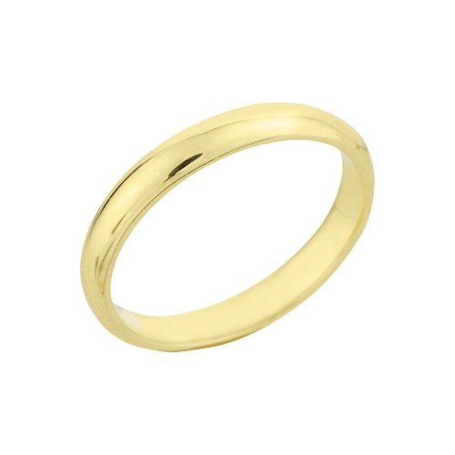 Classic 10k Yellow Gold Comfort-Fit Band Dainty 3mm Wedding Ring for Women, Size 5
