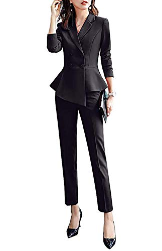 Women's 2 Pieces Office Blazer Suit Work Blazer Jacket,Pant/Skirt (Black, XL) ()