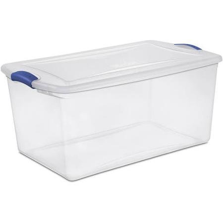Sterilite 66 Quart See Through Storage Box- Stadium with Latching Lid and Blue Handle, Case of 6 ()