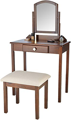 AmazonBasics Classic Compact Vanity Table Set with Stool and Mirror - - Vanity Classic Set