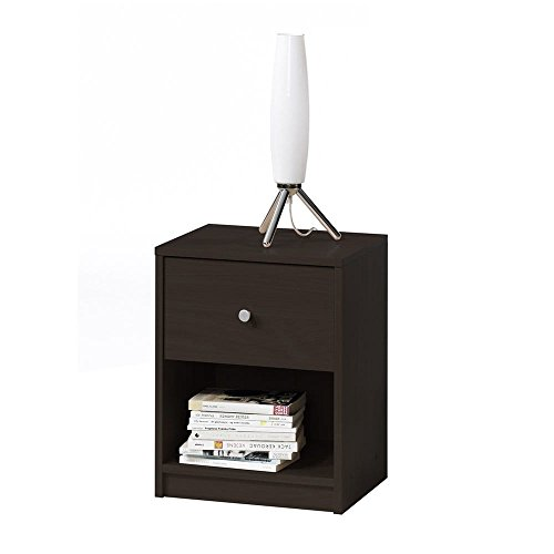 Price comparison product image MD Group Nightstand Residential One Drawer Storage Shelf Coffee Engineered Wood Room Furniture