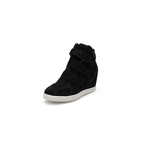 { Women Boots },Hunzed Women's Fashion { Hidden Heel } Boots { Flock } Shoes Ladies Casual { Wedge } Outdoor Shoes (Black, 40) (Boots Women Wedge Shaft)