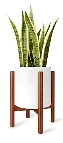Mkono Plant Stand Mid Century Wood Flower Pot Holder Display Potted Rack Rustic Decor, Up to 10 Inch Planter (Plant and Pot NOT Included), Brown ()