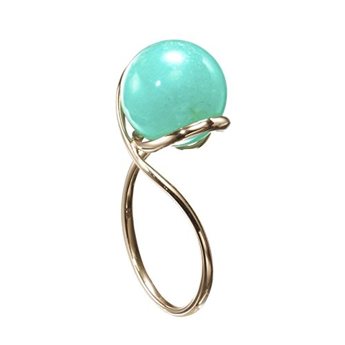 Tiffany Gemstone Ring - Turquoise ring by Majade. Amazonite ring, Green turquoise engagement ring, Teal green stone wedding ring. Handmade solid 14k yellow gold ring for her. Minimalist unique gemstone engagement ring.