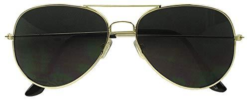 Rhode Island Novelty Dark Aviator Sunglasses Gold Frame with Black Lens One ()