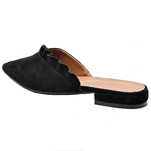Hecater Zwarte Flats Schoenen Voor Dames, Backless Slip Op Mules Puntgaten Dias Fluwelen Sandalen Zwart