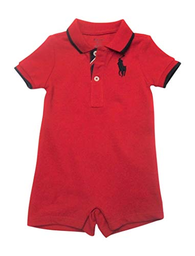 Ralph Lauren Baby Boys Shortalls Bodysuit Big Pony Mesh Pique Cotton Playwear Onesie (3 Months, RL2000 Red) (Ralph Lauren Baby Boy)