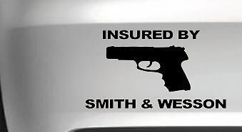 Insured By Smith&Wesson Gun Funny Car Vinyl Decal Funny, Pink, 18 Inch, Die Cut Vinyl Decal For Windows, Cars, Trucks, Tool Box, Laptops, Macbook- Virtually Any Hard