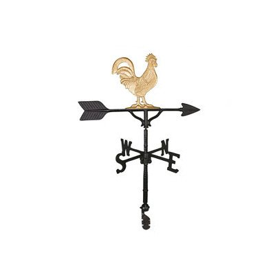Montague Metal Products 32-Inch Weathervane with Gold Rooster Ornament