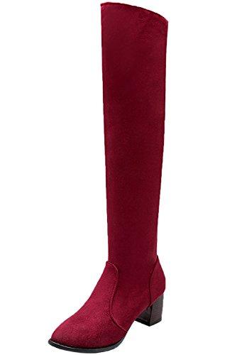Lunghi Sopra Autunno Donna Ginocchio BIGTREE Camoscio Finto Stivali Chunky Stivali Inverno Di Casual Rosso zW6zBg