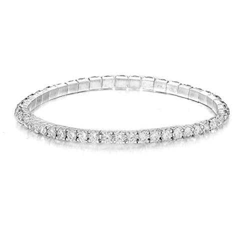 Zstyle Jewelry 1 Strand Rhinestone Stretch Bracelet Silver Tone Wedding Tennis Bracelet Sparkling Bridal Bangle Ankelt,6.5'' - - Large Stretch Rhinestone Bracelet