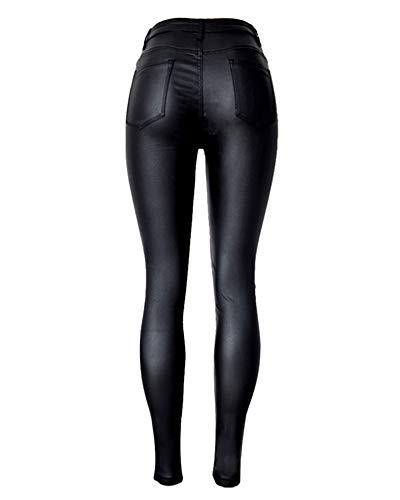 Donna A Qitunc Elasticità Jeans Vita Leggings Matita Skinny Pu Ecopelle Pantaloni Nero Alta Coated 1ppwFnqxRd