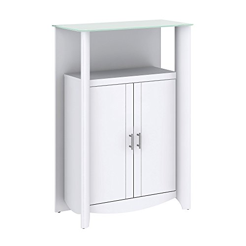 Storage Curio Cabinet - Bush Furniture Aero Library Storage Cabinet with Doors in Pure White