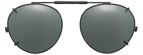 Visionaries Polarized Clip on Sunglasses - Round - Gun Frame - 50 x 45 - Polarized Non Polarized Vs Glasses