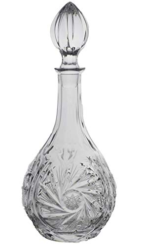 BOHEMIAN CRYSTAL GLASS DECANTER 33oz./1Liter HAND CUT HEAVY BASE OLD FASHIONED CLASSIC STYLE for WHISKEY VODKA BRANDY LIQUOR WINE VINTAGE DESIGN CZECH CRYSTAL GLASS ()