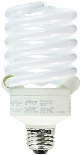 - TCP 150 Watt Equivalent Single-Pack CFL Full Springlamp Light Bulb, Non-Dimmable, Soft White 48942