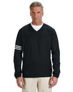 V-neck Wind Jacket - adidas A147 Mens ClimaLite Color Block V-Neck Windshirt - Black & Black, 2XL