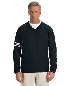 adidas A147 Mens ClimaLite Color Block V-Neck Windshirt - Black & Black, 2XL Mens Regular Pullover Windshirt