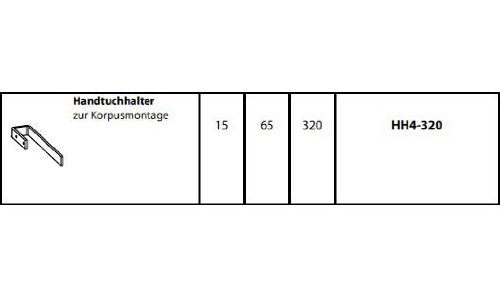 Tiefe: 32 cm Pelipal HH4-320 Handtuchhalter in Chrom Bad Design Korpusmontage