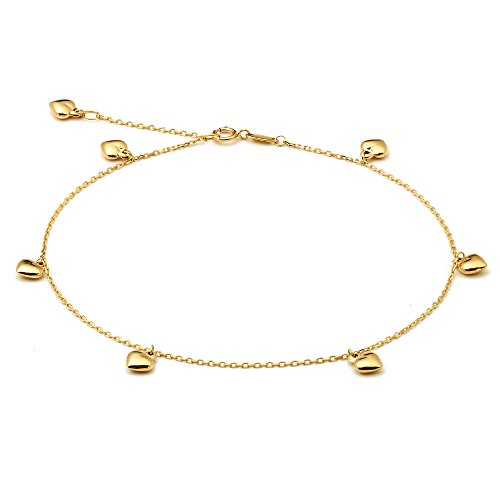 - LOVEBLING 10K Yellow Gold .50mm Diamond Cut Rolo Chain with 7 Puff Heart Pendants Anklet Adjustable 9