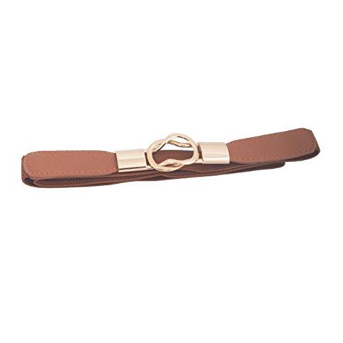 Interlocking Buckle (eVogues Plus size Gold Interlock Buckle Skinny Elastic Belt Brown - One Size)