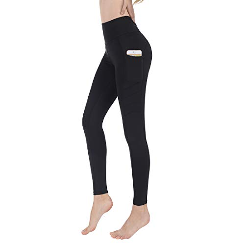 Sylonway High Waist Yoga Pants with Pockets for Women,Tummy Control,Workout Running Yoga Leggings Black L