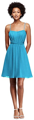 Chiffon Short Bridesmaid Dress with Pleating Style F19229, Malibu, 24